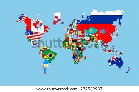 world countries flags map symbols complete illustration