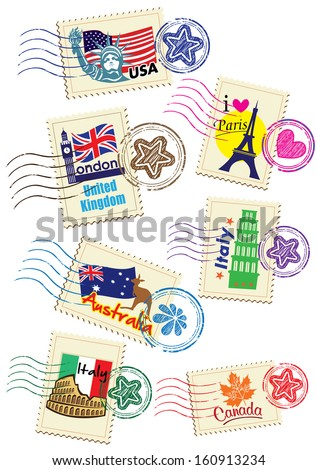 World Country Stamps Set - stock photo