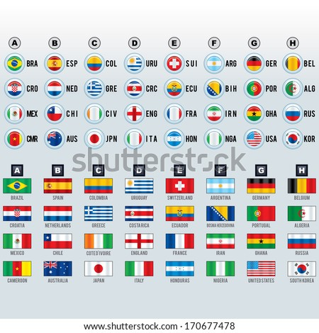 World Cup Soccer National Team Flags. - stock photo