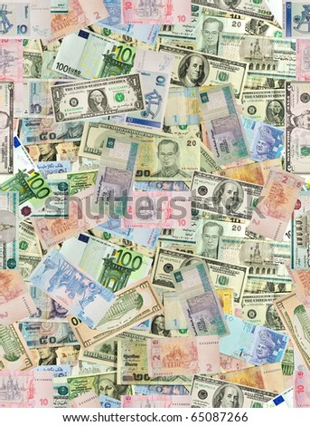 World currencies background (seamless). - stock photo