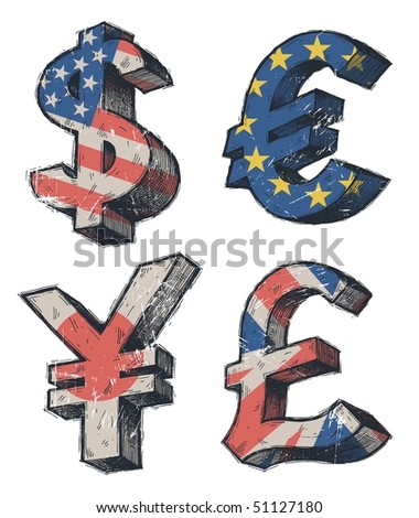 World currencies signs - stock photo