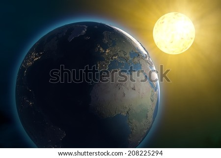 World Earth space sun, Middle East. Images are furnished by NASA - stock photo