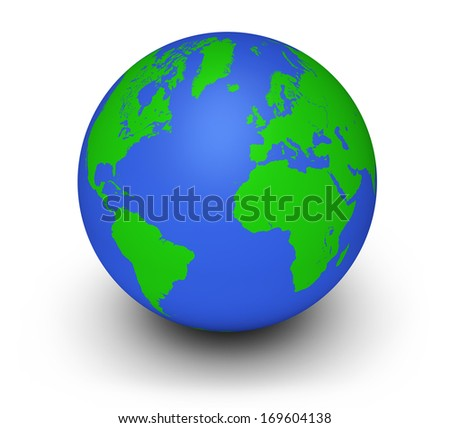 World ecology and environment business concept with a green and blue earth or globe on white background. - stock photo