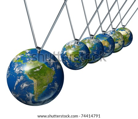 World economy pendulum with south america industry affecting the economies and financial politics of north america and europe as well as the rest of the world powers. - stock photo