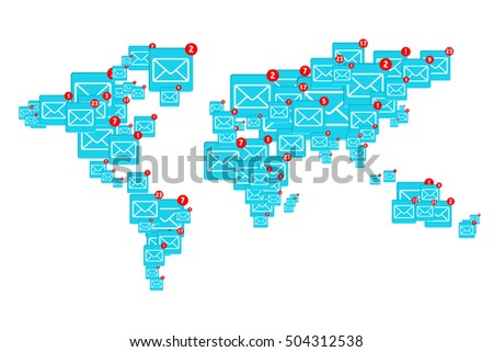 World email, concept of using the mail system by people throughout the world.