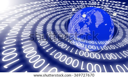 World emitting data in circles as a big data concept