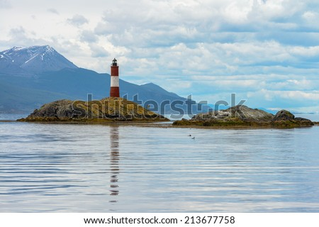 World end lighthouse, Beagle Channel, Tierra del Fuego - stock photo