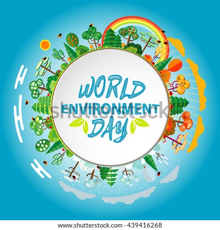 World environment day concept. Green Eco Earth.  illustration