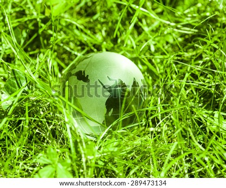 World environmental concept. Crystal globe in green grass. Visible are the continents the Americas. - stock photo