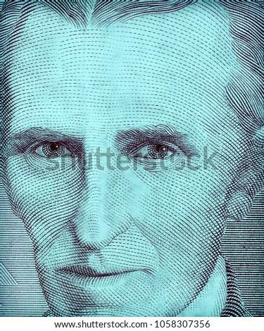 World Famous Inventor Nikola Tesla Portrait Stock Photo Royalty