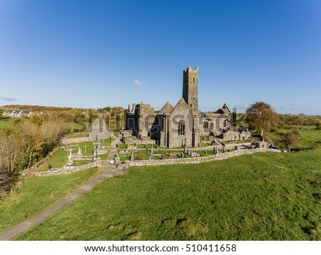 World famous irish public free tourist landmark, quin abbey, county clare, ireland. aerial landscape view of this beautiful ancient celtic historical architecture in county clare ireland.