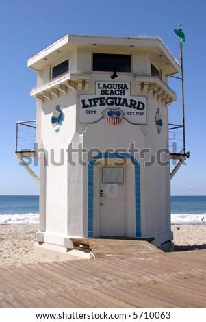 World Famous Laguna Beach California Life Guard Station - stock photo