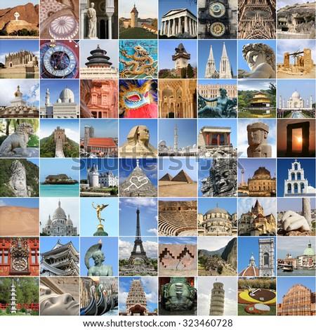 World famous landmark collage - stock photo