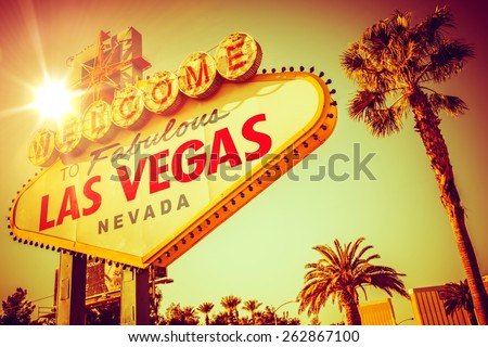 World Famous Las Vegas Nevada. Vegas Strip Entrance Sign in 80s Vintage Color Grading. United States of America. - stock photo