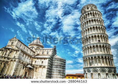 world famous Piazza dei Miracoli in Pisa, Italy
