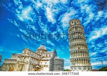 world famous Piazza dei Miracoli in Pisa, Italy - stock photo