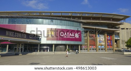 World famous stadium of FC Barcelona - Camp Nou - BARCELONA / SPAIN - OCTOBER 5, 2016