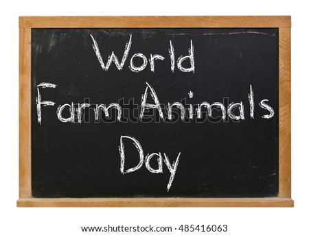 World Farm Animals Day written in white chalk on a black chalkboard isolated on white