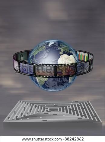 World Film with Maze - stock photo