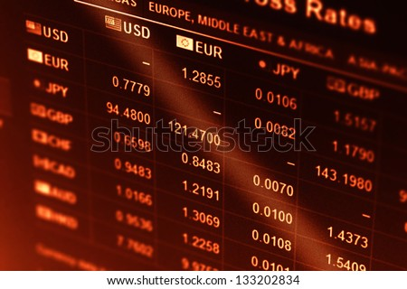 World financial data on a monitor. Finance data concept. - stock photo