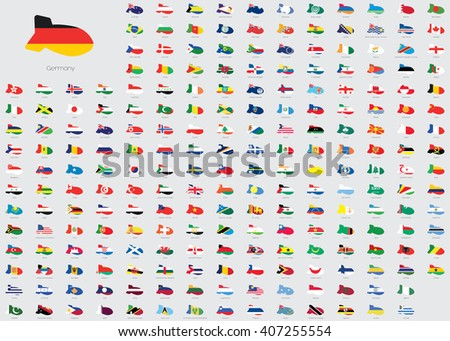 World Flag Illustrations in the shape of a Bomb