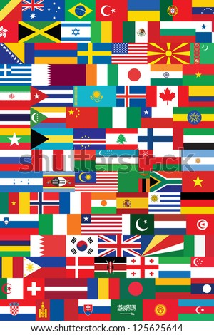 world flags background - stock photo