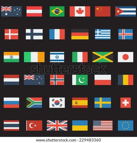 World flags collection. 36 detailed flag icons. Flat design.