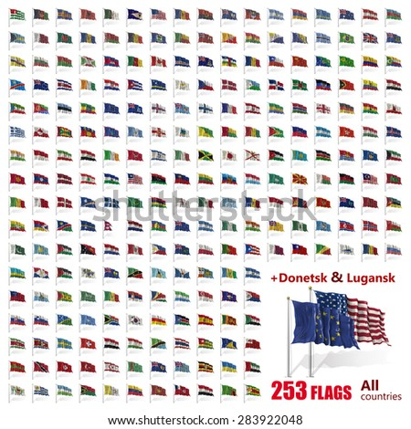 World Flags Icon Set Collection - All Sovereign States / Countries 2015 - stock photo