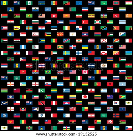 World flags isolated on black