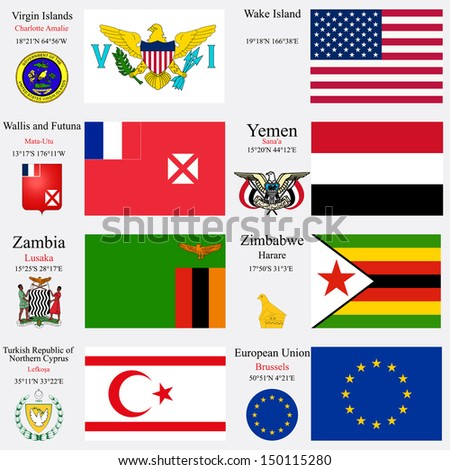 world flags of European Union, Turkish Republic of Northern Cyprus, Virgin Islands, Wake Island, Wallis and Futuna, Yemen, Zambia and Zimbabwe, with capitals and coat of arms, art illustration - stock photo