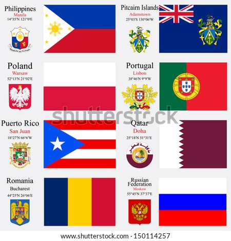 world flags of Philippines, Pitcairn Islands, Poland, Portugal, Puerto Rico, Qatar, Romania and Russian Federation, with capitals, geographic coordinates and coat of arms, art illustration
