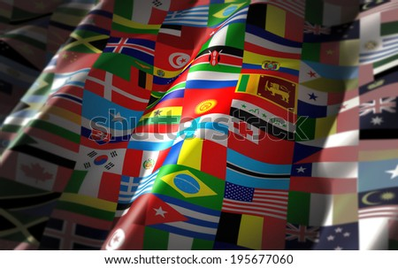 world flags on one colorful flag waving - stock photo
