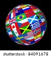 World flags sphere floating on a black background as a symbol representing international global cooperation in the world of business and political affairs. - stock photo