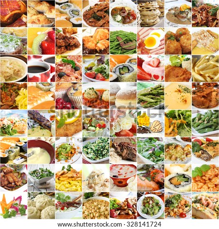 World food and drinks collage (all images belong to me) - stock photo