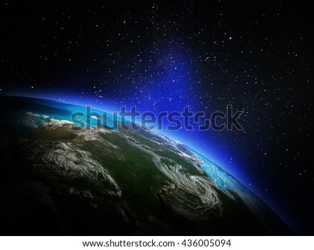 World from space. Elements of this image furnished by NASA. 3D rendering - stock photo