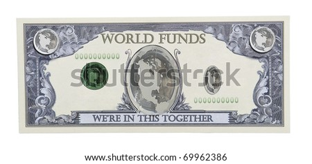 World funds shown by the world globe on a money bill - Path included
