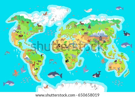 World geographical map flora fauna animals ilustracin de world geographical map with flora and fauna animals of land oceans north and gumiabroncs Choice Image