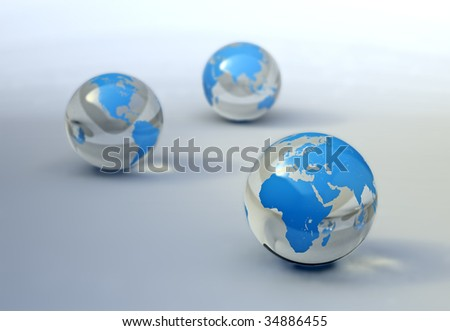 World glass spheres abstract