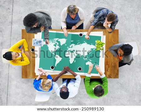 World Global Business Cartography Globalization International Concept - stock photo