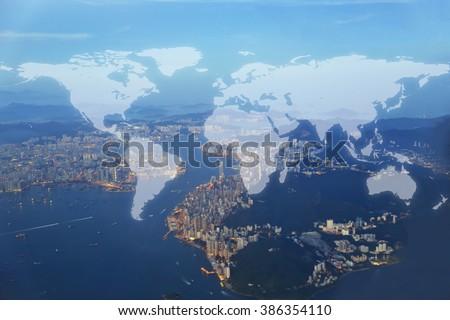 World Global Cartography Globalization ,hongkong island background (Elements of this image furnished by NASA) - stock photo