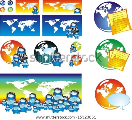 World global concept and population icon set.