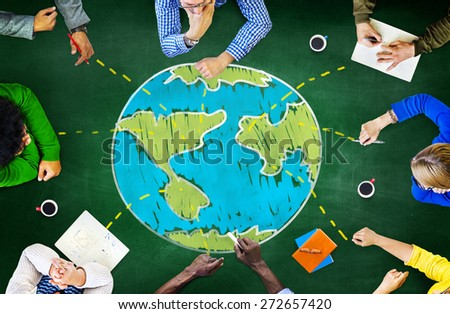 World Global Ecology International Meeting Unity Learning Concept - stock photo