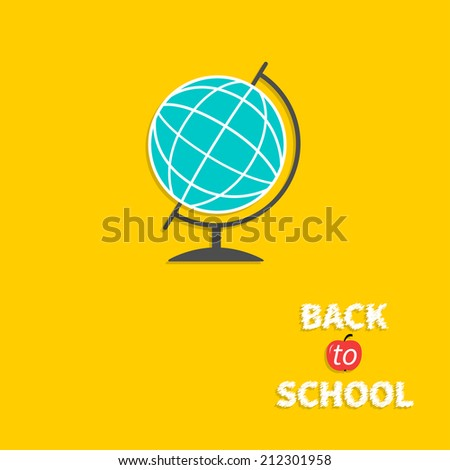 World globe. Back to school. Flat design style. - stock photo