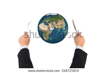 World globe ball with fork and knife isolated on white background, Elements of this image furnished by NASA - stock photo