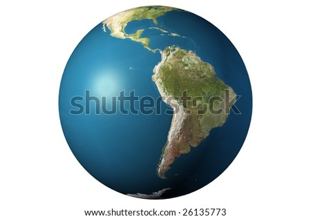 World globe close-up isolated over a white background. 3D rendered picture