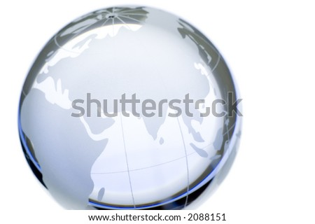 World globe:continents over transparent glass, isolated. Europe, Asia and Africa. More available. - stock photo