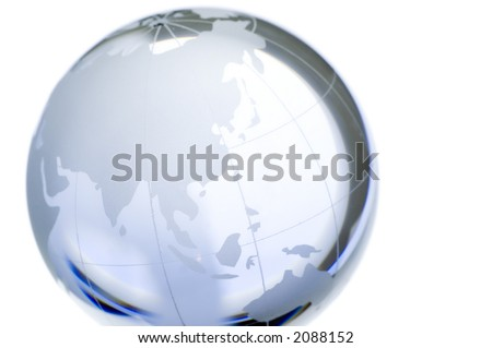 World globe: continents over transparent glass. North Pole, Asia. More in my portfolio