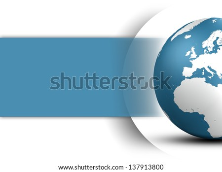 World Globe design concept in blue and space for your text on white background - stock photo