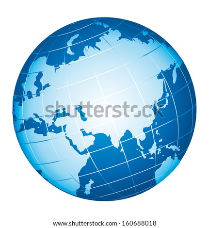 World globe icon. Asian and Russian view.  - stock photo