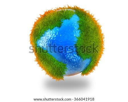 World globe in grass - stock photo